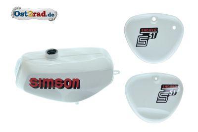 Tank Set mit Seitendeckel S51E ENDURO Weiss versiegelt mit Aufkleber Simson