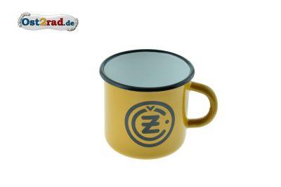 Tasse Emaille GELB CZ Logo schwarz