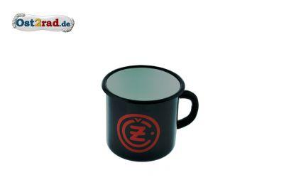 Tasse Emaille SCHWARZ CZ Logo rot