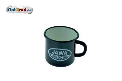 Tasse Emaille SCHWARZ JAWA Logo weiss