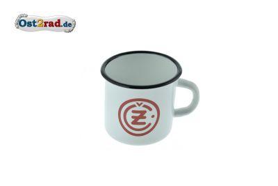 Tasse Emaille WEISS CZ Logo rot