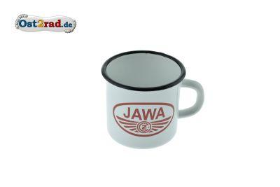 Tasse Emaille WEISS JAWA/CZ Logo rot