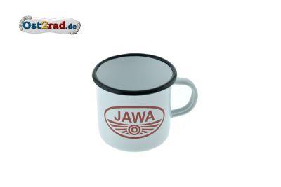 Tasse Emaille WEISS JAWA Logo rot