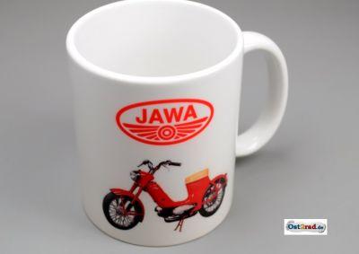 "Tasse blanche avec impression ""JAWA Pionyr 550"""
