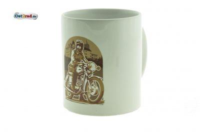 Tasse weiß mit Aufdruck Schloss Zschopau und Motorradfahrerin