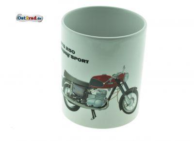 Tasse weiß mit Aufdruck Fahrzeug ETS 250 Trophy Sport
