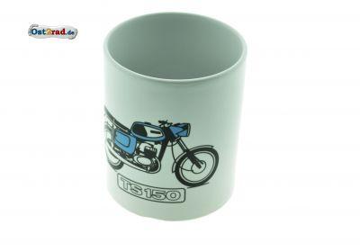 Tasse weiß mit Aufdruck Fahrzeug TS 150 blau