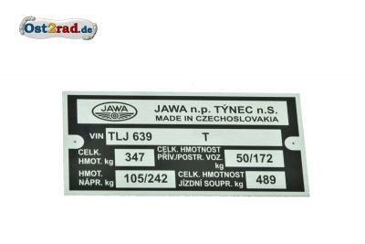 Plaque signalétique JAWA 350 type 639