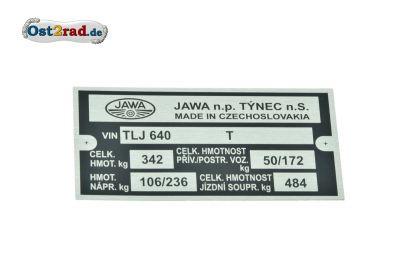 Plaque signalétique JAWA 350 type 640