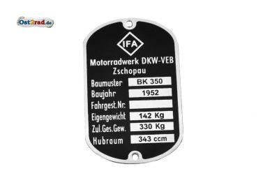 Typenschild passend für MZ BK 350 6-zeilig