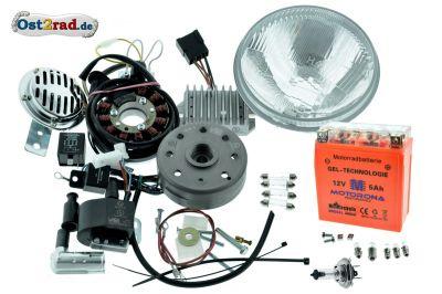 Umbausatz Zündung Powerdynamo, Vape pass. f. MZ ES250/2 kompl. mit Reflektor H4 12V