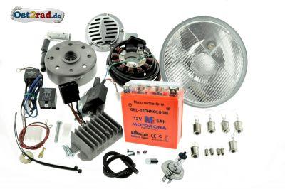 Umbausatz Zündung Powerdynamo, Vape pass. f. MZ ETS TS 125 150 komplett mit Reflektor H4