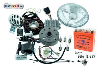 Umbausatz Zündung Powderdynamo/Vape pass. f. MZ TS250 -1 komplett mit Reflektor H4 12V