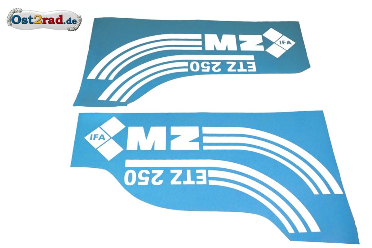 Aufkleber Satz Tank Seitendeckel Mz Etz 250 Weiss