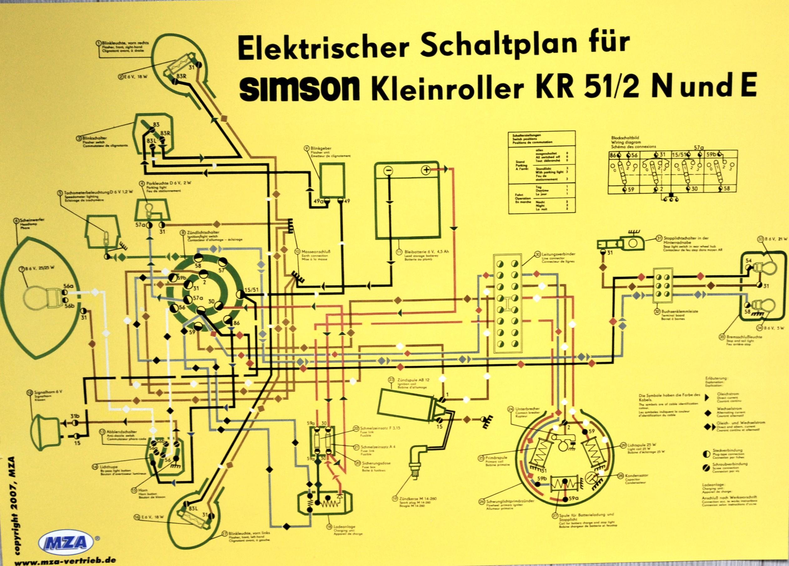 Poster Schaltplan SIMSON KR51/2N und E