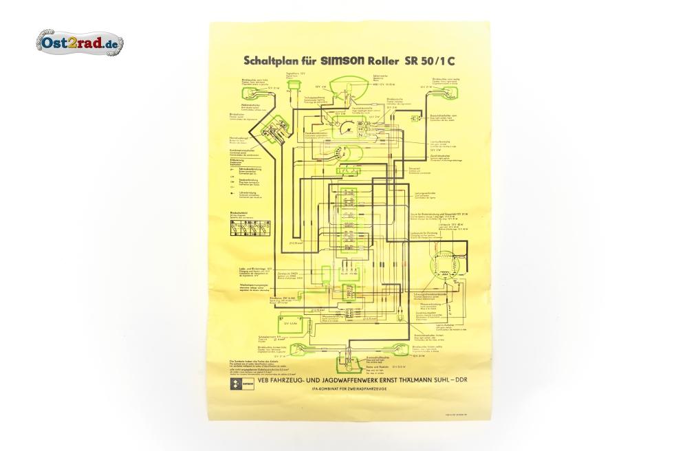 poster schaltplan simson roller sr50 1c 12v ohne. Black Bedroom Furniture Sets. Home Design Ideas