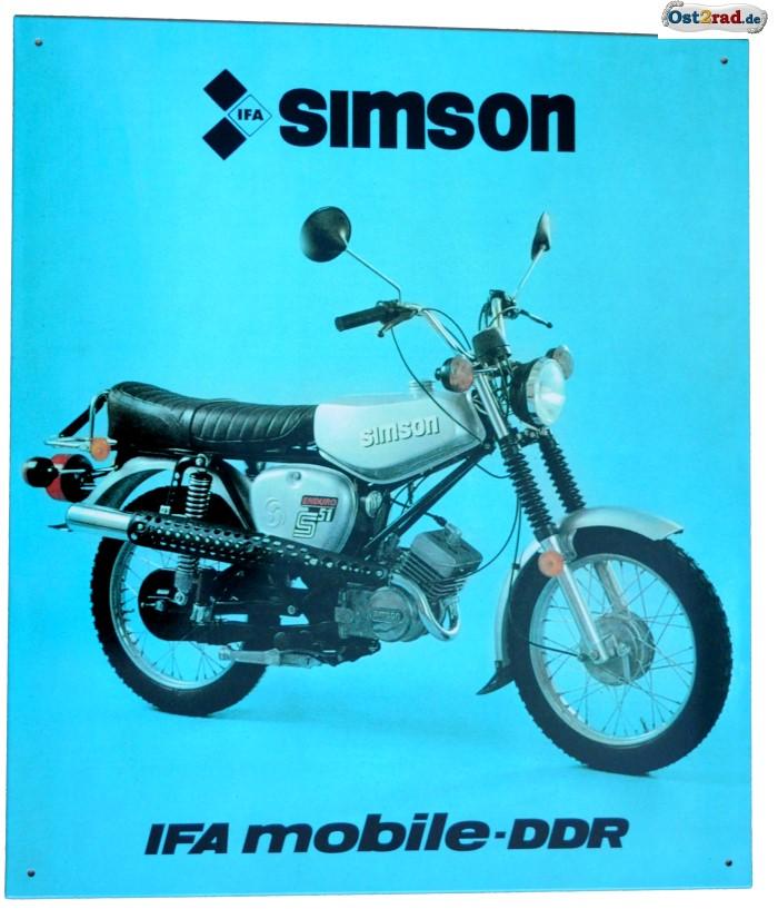 SIMSON S51E Enduro MZA Blechschild
