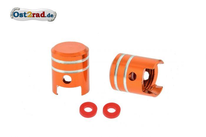 2x Ventilkappen KOLBEN Alu orange eloxiert inkl. O-Ringe