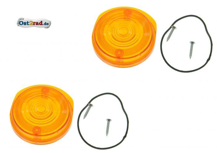 Blinkerkappe rund vorn 1 Paar passend für MZ SIMSON orange