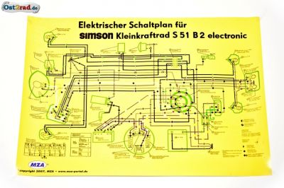 poster schaltplan simson s51 b2 electronic. Black Bedroom Furniture Sets. Home Design Ideas