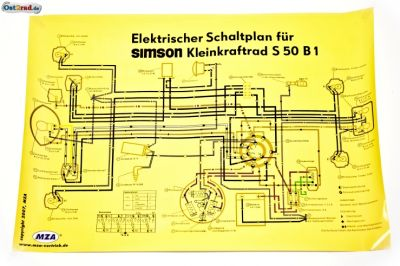 poster schaltplan simson s50 b1. Black Bedroom Furniture Sets. Home Design Ideas