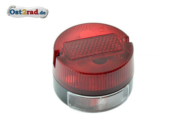 Rücklicht komplett rund, klein für Simson S50, MZ TS, mit E-Prüfzeichen und KZB
