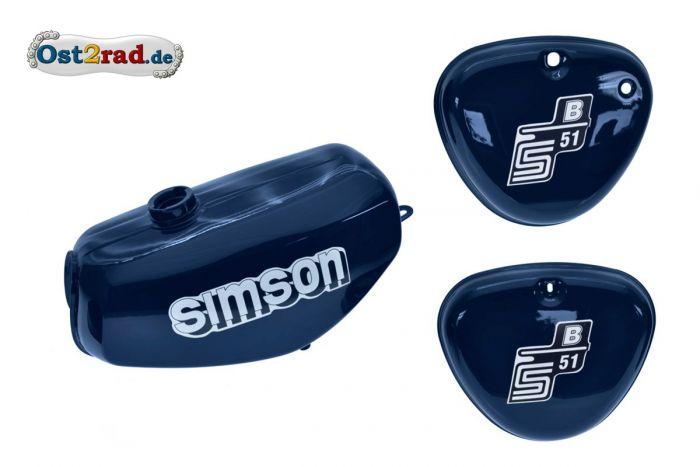 mit Aufkleber Simson versiegelt Tank Set mit Seitendeckel S51 S70 Perlblau