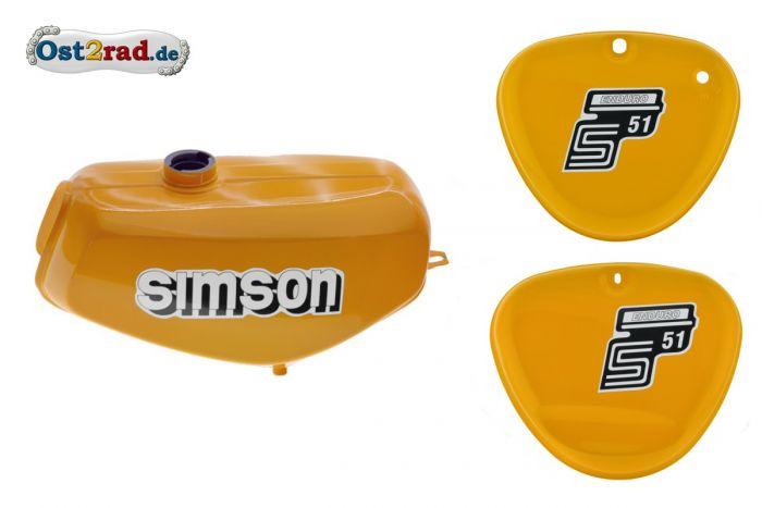 Tank Set mit Seitendeckel S51E ENDURO Saharabraun I versiegelt mit Aufkleber Simson